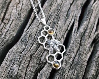 """Sterling Silver and Citrine Honeycomb """"Hive"""" Pendant"""