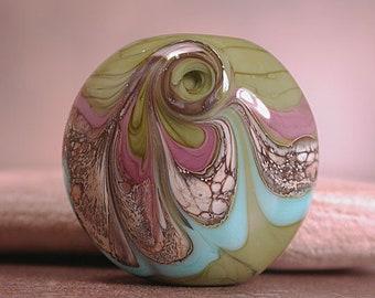 Lampwork Focal Bead, Lampwork Art Glass, Olive Green Lavender Blue, Divine Spark Designs, SRA