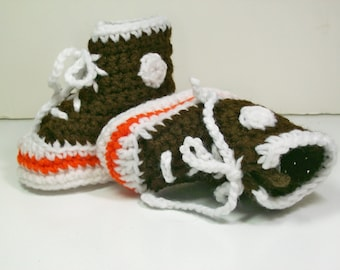 Crochet Baby Booties  Hi-top Sneakers  Brown with Orange Stripe Converse Style Basketball Shoes