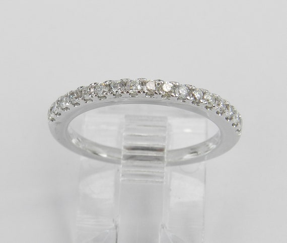 Diamond Wedding Ring Pave Set Anniversary Band 14K White Gold Size 4.5 Stackable
