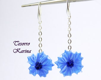Earrings with blue flowers, lepvork on a chain, earrings with blue glass flowers, long earrings on a chain