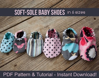 DIY Soft Sole Baby Shoes - Baby Shoe Pattern - PDF Sewing Patterns for Baby Girl or Baby Boy - Instant Download Printable - DIY Crafts