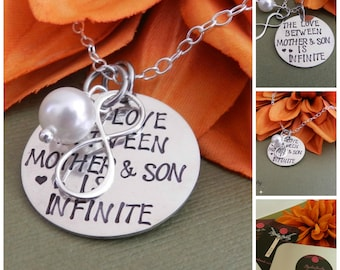 Mothers day gift for Mom, The love between mother and son is infinite, Mother in law gift, Gift from son/ Husband, Personalized Mom necklace