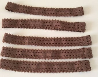 set of 5 elastic headband stretch 20mm Brown lace