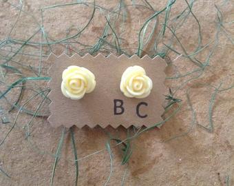 Large Off White Rose Stud Earrings
