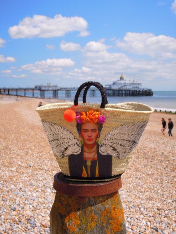 Frida Kahlo straw French basket Market bag Viva la Frida  large straw handwoven basket Large straw basket