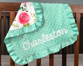 Personalized Lovey - Little Minky Blanket Girl - Baby Lovey Minky - Baby Girl Security Blanket - Satin Ruffle - Mint and Pink Baby Blanket