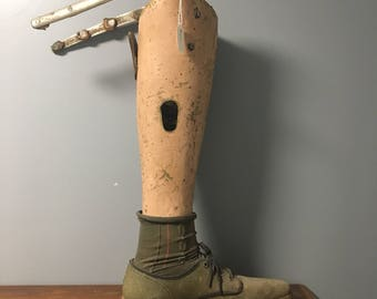 Left wooden leg prosthetic