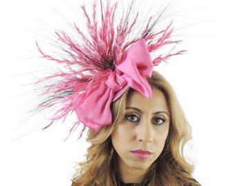 Gavriel Hot Pink Fascinator Hat for Kentucky Derby, Weddings & Proms