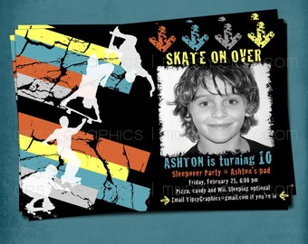 Skate on Over. Super Cool and Edgy Skateboarder Birthday Invite for Big Boys by Tipsy Graphics