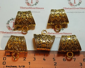 4 pcs per pack 23x17x10mm with 3mm opening Hole smooth Large Hole Bail 4mm loop Antique Gold Lead free Pewter.
