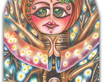 """Aurora Ashworthy - a whimsical coloured pencil 8 x 10"""" ART PRINT of a forest goddess and tree lover and protector with a sweet owl friend"""