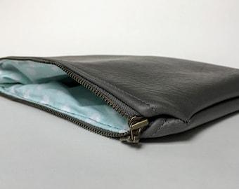 The Polka Dot Clutch - Gray faux leather clutch Vegan friendly!
