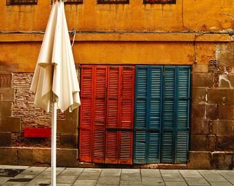Barcelona Street Cafe, Shutters, Umbrella