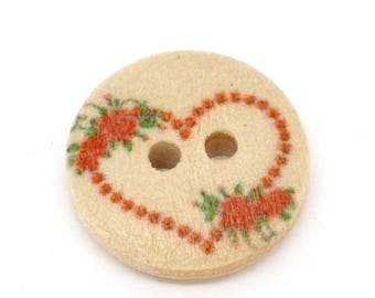 set of 10 wooden buttons painted 15 mm heart pattern