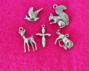 Vintage Animal Charms, Silver Tone, w Cross Charm, Silver Charm, Figural Jewelry, Horse Charm, Deer Charm, Squirrel Charm, Bird Charm GS1246