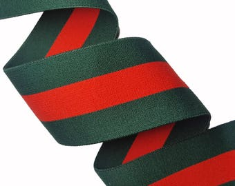 Green Red Striped Gucci Style Rubber Elastic Trim, DIY Fashion Elastic Trim