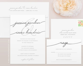 Handwriting Simplicity Wedding Invitation & RSVP Set - Calligraphy Wedding Invitation, Script Wedding Invitation, Minimal Wedding Invitation