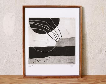 uncertain place 33 · original linocut on paper · handmade and signed · limited