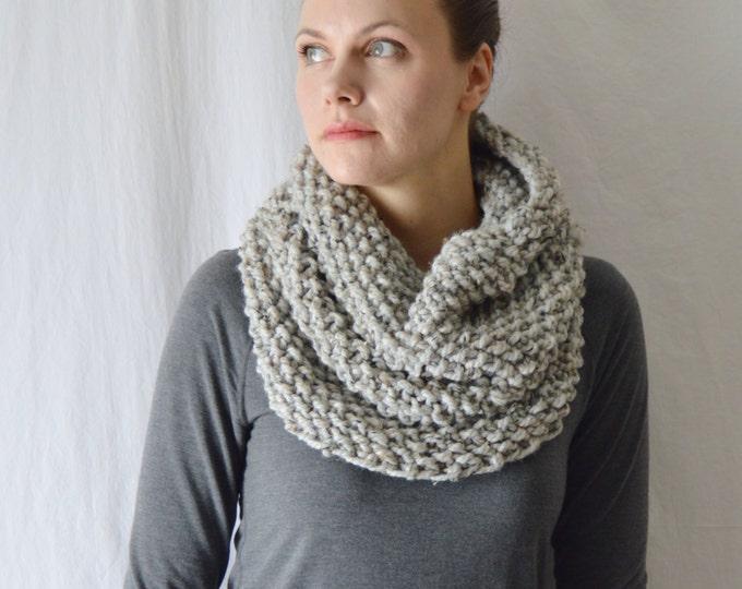Wool Knit Infinity Scarf, Gray Acrylic Crochet Cowl