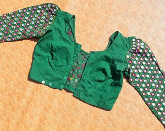 Vintage /Old /Antique/Tribal /Kutch /Rajasthan/Rabari / Mirror/ Work/ & /Hand / Embroidery/Belly /Dance /Top/Choli /Blouse Material Art Silk
