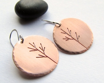 Autumn Moon Saplings copper and sterling silver earrings- made to order