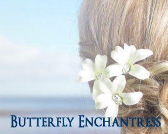 SALE Wedding Hair Accessories, Bridal Hair Flowers, Destination Wedding - 3 Jubilee Orchid Flower Hair Pins