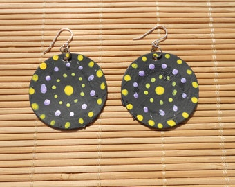 Black, metallic amethyst yellow, and citron green recycled bottle cap earrings