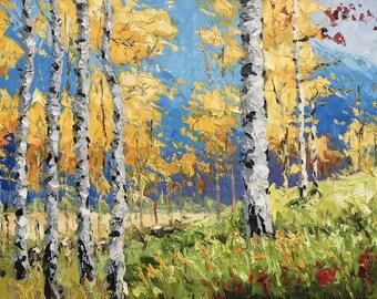 """Yuanjian Wang 247  (3) Birch trees 28x38"""""""