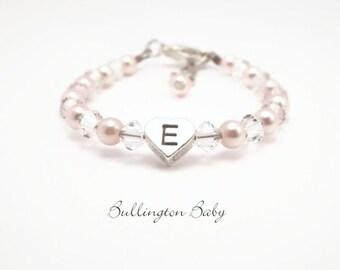 Baby Bracelet, Baby Pearl Bracelet, Initial Bracelet, Heart Bracelet, Baby Shower Gift, Baby Jewelry, Christening Gift, Flower Girl (B57)