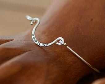 Sterling Silver Personalized Wire Bangle (E0602)