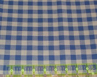 Blue and Tan Homespun Fabric