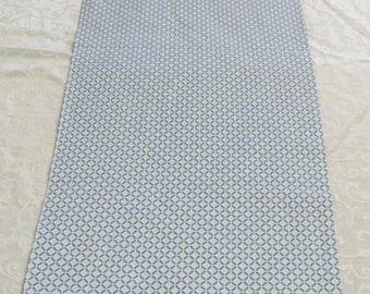 "TR-33  42""x13""  Beautiful light blue lattice work table runner"
