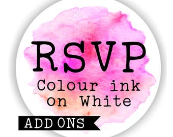 RSVP card and Envelope Sets - Colour Ink on White Card -10