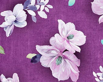 "NEW ""Jacqueline"" by Quilting Treasures, Flowers in Plum, yard"