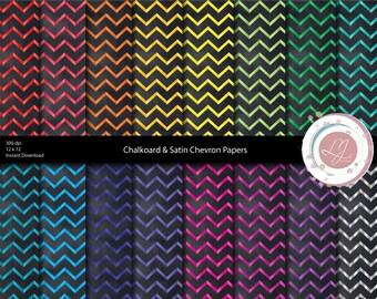 Digital Chalkboard, Chevron Paper, Satin, Scrapbooking, Crafts,Colorful, Printable Papers, Digital Download, Patterned, Chevron Print