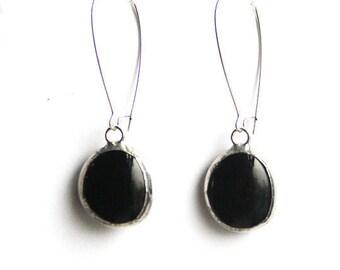 Drop Earrings- Round Wire Loop Earring- Dangle Earring- Stained Glass Earring- Black Glass Earring- Statement Earring- Modern Earrings
