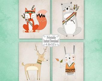 Printable Tribal Woodland Animals Nursery Wall Art Decor with Bear Fox Deer Rabbit Baby Child Kids ~ DIY Instant Download ~ 4 8x10 Prints