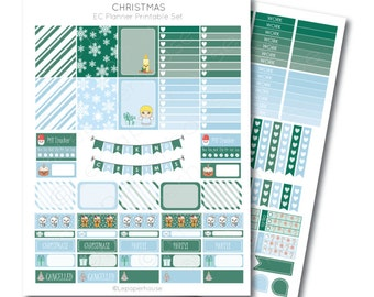 Christmas Printable Planner Sticker Set, Erin Condren Life Planner, Instant Download