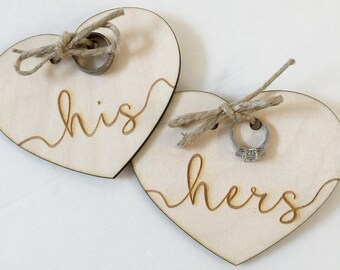 Wedding ring holder, wood ring pillow. engraved his and hers heart ring bearer pillow