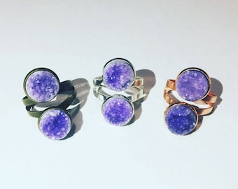 Lavendar Aura Double Druzy Rings - Assorted Finish - Boho Jewelry