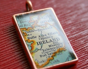 Map Pendant, Map Charm, Custom Order Option for Copper Map Pendants,Rectangle, You Name the City