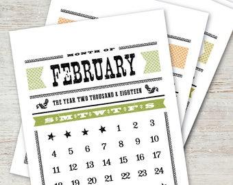 WOODTYPE Printable Calendar 2018 2019 Instant Download Digital Desk Calendar Monthly Planner Western Vintage Retro