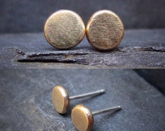 14K Gold Studs, Simple Dot Gold Circle Stud Earrings, Everyday Round Minimal Chic Recycled Gold Studs Studs, 14k Dot Studs