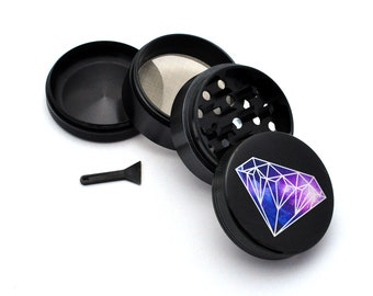 Herb Grinder - Black Aluminum Alloy Galaxy Diamond Picture Grinder