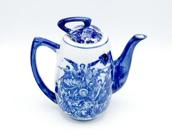 Vintage teapot, china teapot, tea pot, retro teapot, vintage chinaware, blue and white teapot, teapot, chinaware, gift