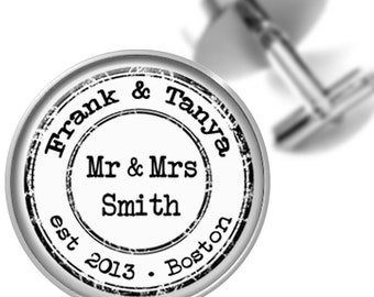 Personalized Wedding Cufflinks Vintage Style Stamp Cuff Links Grooms Wedding Anniversary Sweethearts