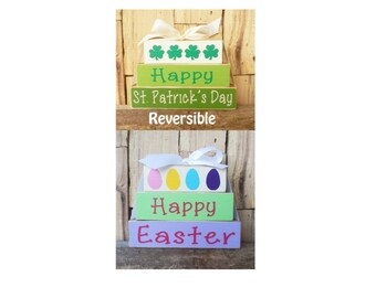 Happy St Patrick's,  DayHappy Easter, Reversible Small block set, Blocks, Wood block set, Happy Easter Sign, Happy St Patrick's Day Sign