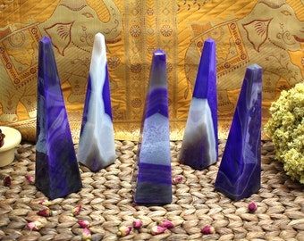"""Purple Druzy Agate Obelisk - 6"""" to 7.5"""" - Hight Quality Home Decor Piece- Good for Meditation, Fengshui, (GC1-26)"""