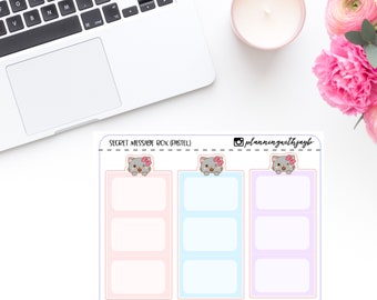 Nohea the Cat 3D secret message box; planner stickers/icons/cliparts